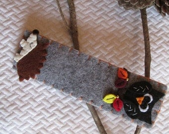 Bookmark with Owl and Hedgehog - Felt bookmark - Gift for Readers/ Children/ Teachers - Fall - Gift under 10