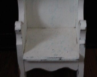 Country doll chair, wooden doll chair, high back chair, shabby chic, Photo Prop, Vintage Wood Rustic, Distressed Cottage Chic, Furniture