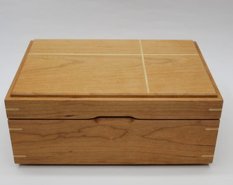 Cherry Jewelry/Keepsake Box with Maple Accents