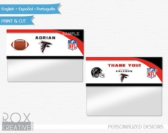 Atlanta Falcons Birthday Favor Treat Bag Toppers, Falcons Printable Labels, Digital Design