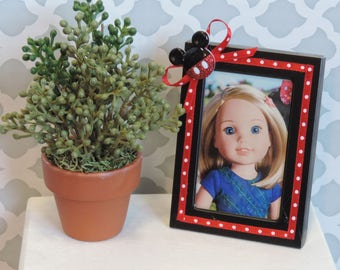 Mickey Mouse Themed Decorated Picture Frame for American Girl Dolls, 18 inch dolls, room decor, photo prop