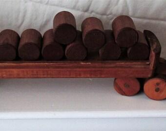 Vintage Handmade Wood Log Truck