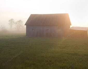 Landscape photo countryside barn mist sunrise photography wall art photo home decor decoration haze country