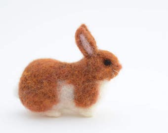 Miniature Red Brown Needle Felted Rabbit, Rabbit Sculpture, Miniature Rabbit Art, Needle Felted Easter Bunny, READY TO SHIP, Felted Animal