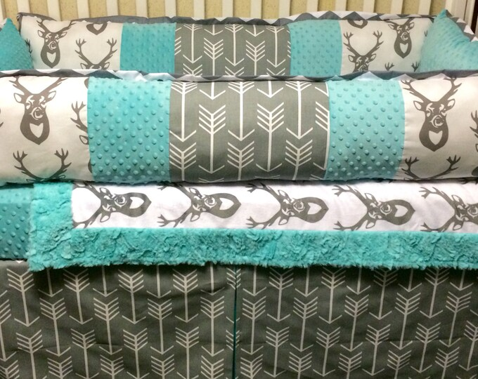 Deer and Arrows Baby Bedding- Gray and Aqua/Teal/Mint crib bedding- Neutral baby bedding