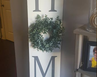Home sign, front porch sign, welcome sign, outdoor sign, sign for front porch, home sign with wreath, front door wreath, entryway sign