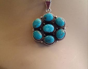sterling silver turquoise pendant with Italian sterling silver rope chain