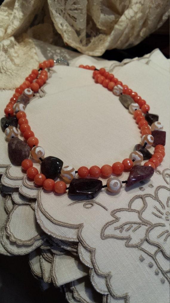 Garnet polished nugget necklace with jasper and jade