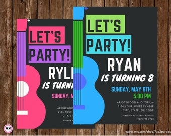 Guitar, Rock and Roll Party, Jam, Personalized Invitation, Printable, birthday party invitation, You choose the color,  5x7, diy, band