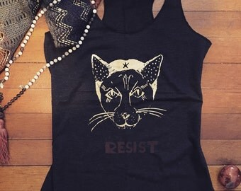 Pussy Cat Love RESIST. Rebel kitten tank or t-shirt for the resistance. Join the tribe, together we rise!