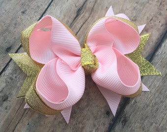Pink and Gold bow - Dressy Hair bow - Pink and gold - Birthday bow - 1st birthday bow - sparkle bow - Small boutique bow - little hair bow
