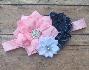 Pink and Denim Headband - Flower headband - Country headband - baby girl headband - photo prop headband - Flower girl headband - headband