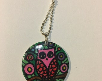 Pink Owl Art Pendant Original Painting on Wooden Round Pendant Handmade Unique Handpainted with Silver Ball Chain