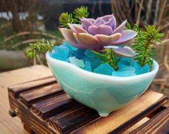 Succulent planter/wooden pallet/planter/succulent arrangement/succulent plant/porcelain planter/turquoise/indoor planter /cactus planter
