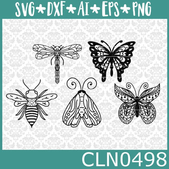 CLN0498 Bugs Dragonfly Butterfly Monarch Bee Moth Clipart  SVG DXF Ai Eps PNG Vector Instant Download Commercial Cut File Cricut SIlhouette