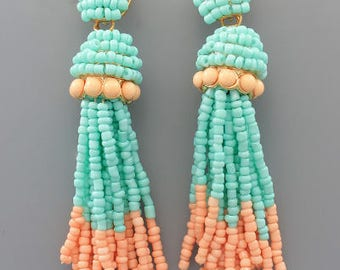 Mint & Peach Seed Bead Tassel Earrings