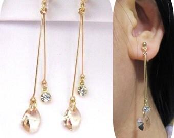 Light Silk Swarovski rhinestone clip on earrings  11E  Dangle drop non pierced bridal clip-ons, Gold Comfortable Wedding clip on earrings