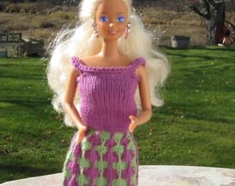 Babie Clothes, Barbie Fashion, hand Knit Barbie Cothes