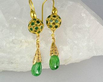 Emerald Earrings Green Gemstone Earrings Emerald Tsavarites 22K Gold earrings
