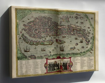 Canvas 24x36; Map Of Venice Italy 1612