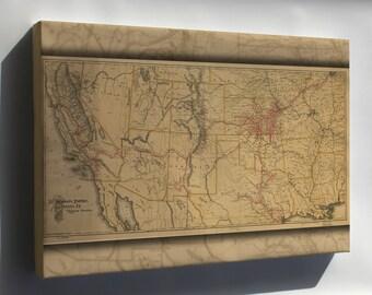 Canvas 24x36; Map Atchison Topeka & Santa Fe Railroad 1899 P10