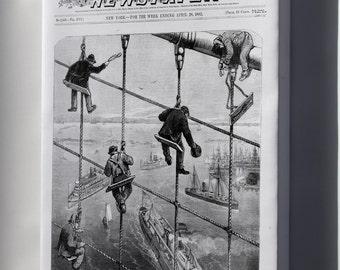 Canvas 24x36; Building The Brooklyn Bridge