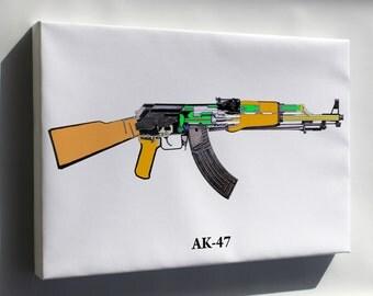Canvas 24x36; Ak-47 Schematic - Copy