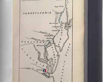 Canvas 16x24; Map Of George Washington'S March To Yorktown