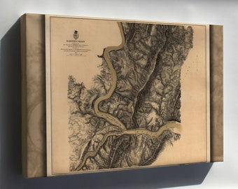 Canvas 16x24; Map Of Harpers Ferry 1863