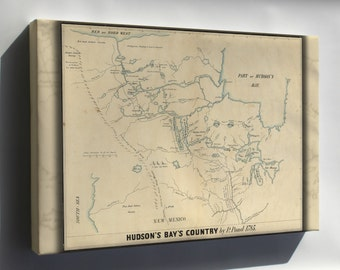 Canvas 16x24; Map Of Hudson'S Bay'S Country Canada 1850