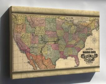 Canvas 16x24; Map Of Atchison Topeka & Santa Fe Railroad 1888