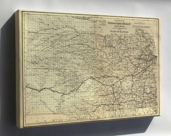 Canvas 16x24; Map Of Atchison, Topeka & Santa Fé Rail Road In Kansas 1886