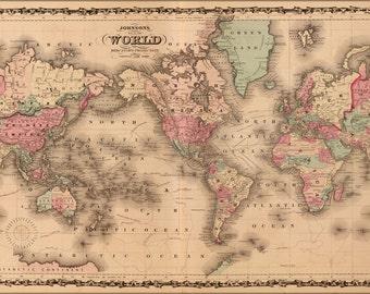 16x24 Poster; Johnsons World Map 1862 P2