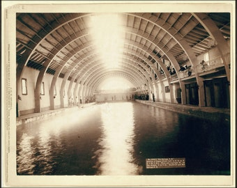 16x24 Poster; Grabill Hot Springs, Interior View Of Largest Plunge Bath House In Us