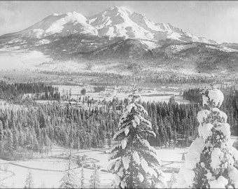 16x24 Poster; Mount Shasta Covered In Snow, Siskiyou County, Ca.1900 1940 (5464) #031215