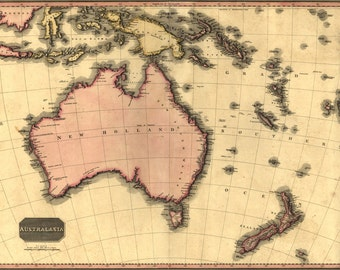 16x24 Poster; Map Of Australia And New Zealand 1818