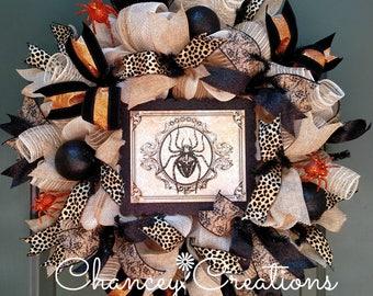Halloween Wreath, Burlap Spider Halloween Wreath, Spider Wreath, Burlap Wreath, Deco Mesh Wreath, Front Door Wreath, Wreaths