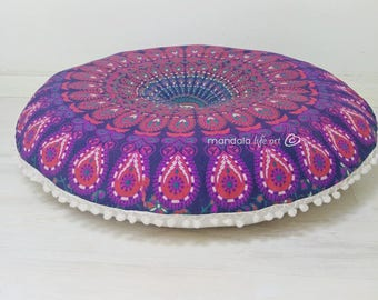 Pouf Ottoman Meditation Pouf Floor Cushion Seating Area Pouffes Round Meditation Cushion FILLER NOT INCLUDED