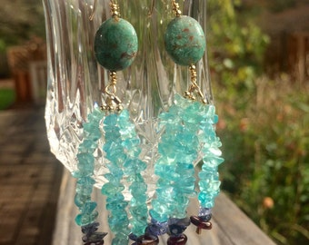 14k Gold Filled African Jasper Shooting Star Earrings with Apatite, Iolite, and Garnet