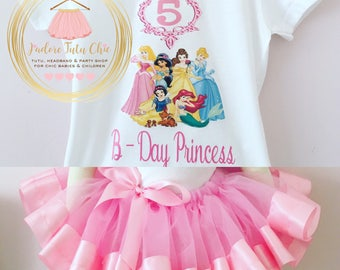 Disney princess birthday outfit - disney princess tutu set - princess 1st birthday tutu set - princess birthday outfit