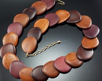 Vintage Wood Necklace Boho Hippie Estate 1960s Slinky Retro Disc Wooden Jewelry