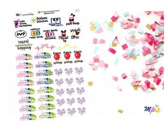 Magical Vacation Trip Sampler Die Cut Planner Sticker, 66 stickers per sheet - 002