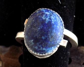 Lapis Ring ring in modern style in Fine Silver