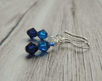 Blue Swarovski crystal sterling silver earrings