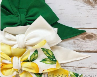 Gorgeous Wrap Trio (3 Gorgeous Wraps)- Forest Green, Blanc & Sweet Lemon Gorgeous Wraps; headwraps; fabric head wraps; headbands