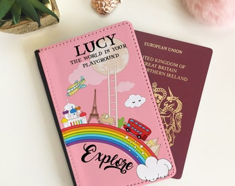 Personalised PINK World Rainbow Passport Cover - Passport Case - Passport Wallet for kids