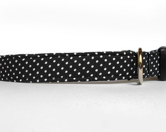 Tiny black and white polka dot dog collar/ dotted pet collar/ everyday dog collar