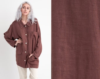 90s Brown Cocoa Oversized Natural Linen Long Sleeve Button Down Shirt with Large Pockets Collared Blouse XL