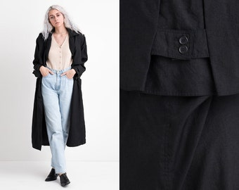 Vintage 80s Black Silky Oversized Trench M