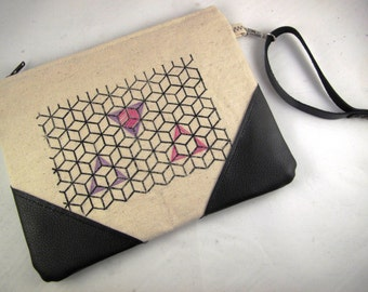 embroidered clutch, black vegan leather strap, bags & purses, embroidered bag, zipper clutch, small bag, triangle purse, triangle print